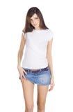 Brunette in denim skirt Stock Photo