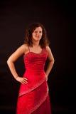 Brunette, der französisches Cancankleid trägt Stockfotos