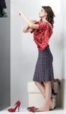 Brunette, der rotes Kleid betrachtet Stockbild