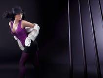 Brunette di Dancing Fotografie Stock