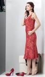 Brunette die rode kleding bekijkt Royalty-vrije Stock Afbeeldingen
