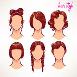Brunette. different hairstyles. Royalty Free Stock Photography