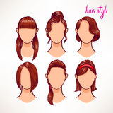 Brunette. different hairstyles - 2 Stock Photo