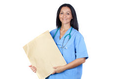Brunette doctor with a big envelope Stock Image