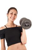 Brunette doing fitness with weights Stock Images