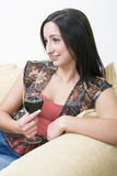 Brunette drinking 2 Stock Photo