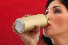 Brunette drinking Royalty Free Stock Photo