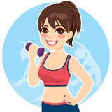 Brunette With Dumbbell Royalty Free Stock Photos
