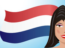 Brunette and Dutch flag Stock Photos