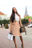 Brunette dutch woman street fashion Stock Images