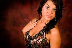 Brunette in elegant dress Stock Photos