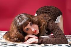 Brunette in an elegant dress Stock Images