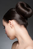 Brunette with elegant hairstyle Royalty Free Stock Photography