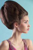 Brunette with elegant up-do and pink dress stock photography