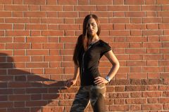 Brunette elegant woman in front of brick wall backround Stock Photos