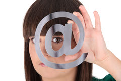 Brunette with email symbol Royalty Free Stock Photography