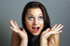 Brunette emocionado hermoso (1) Imagen de archivo