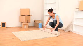 Brunette emptying her place to move house stock video