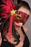 Brunette en máscara imagenes de archivo