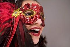 Brunette en máscara Foto de archivo