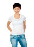 Brunette en una camisa blanca Imagen de archivo libre de regalías