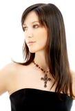 Brunette encantador com crucifix imagens de stock