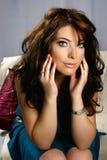Brunette encantador con los ojos azules Imagen de archivo