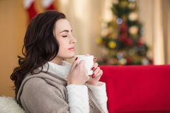 Brunette enjoying a hot chocolate at christmas Royalty Free Stock Photography