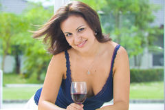 Brunette et vin Photo stock