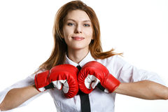 Brunette european woman is ready to kick stock images