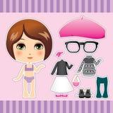 Brunette Fashion Girl Stock Photo