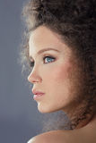 Brunette Fashion Model with Frizzy Hair Royalty Free Stock Photos