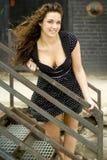 Brunette Fashion Model in semi casual professional clothes Stock Photo