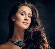 Brunette female with costly necklace. Close up studio portrait of brunette female with costly necklace royalty free stock photography