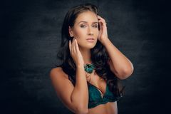 Brunette female with costly necklace. Portrait of fashionable brunette female with costly necklace stock photo