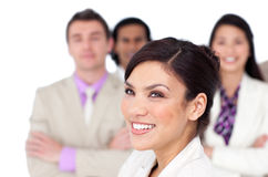 Brunette female executive presenting her team royalty free stock photos