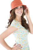 Brunette female model with a surprised or astonished expression Stock Image