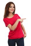 Brunette female pointing Royalty Free Stock Image