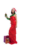 Brunette female santa with gfts Stock Photography