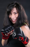 Brunette Fighter Stock Photography
