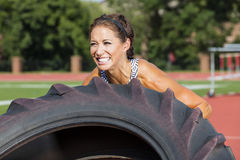 Brunette Fitness Model Working Out Royalty Free Stock Photography