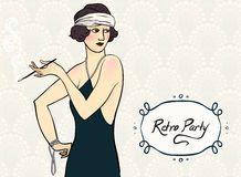 Brunette flapper girl Royalty Free Stock Image