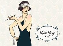 Brunette flapper girl. Vector illustration of a brunette flapper girl. Image for retro costume party invitation, vintage postcard or art deco poster, mafia game stock illustration
