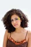 Brunette with flower makeup Royalty Free Stock Image