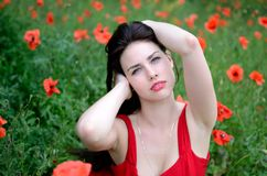 Brunette with flowers Royalty Free Stock Photos