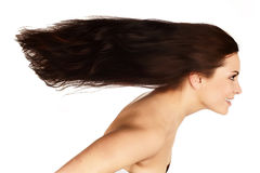 Brunette with  flying hair Stock Photo