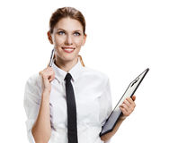 Brunette with folder and pen Royalty Free Stock Photo