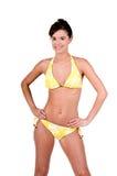 Brunette-Frau in einem Bikini lizenzfreies stockfoto