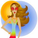 Brunette-Frau und Sonnenbrillen lizenzfreie abbildung