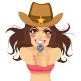 Brunette-Frauen-Cowgirl-Schießen-Gewehr lizenzfreie abbildung